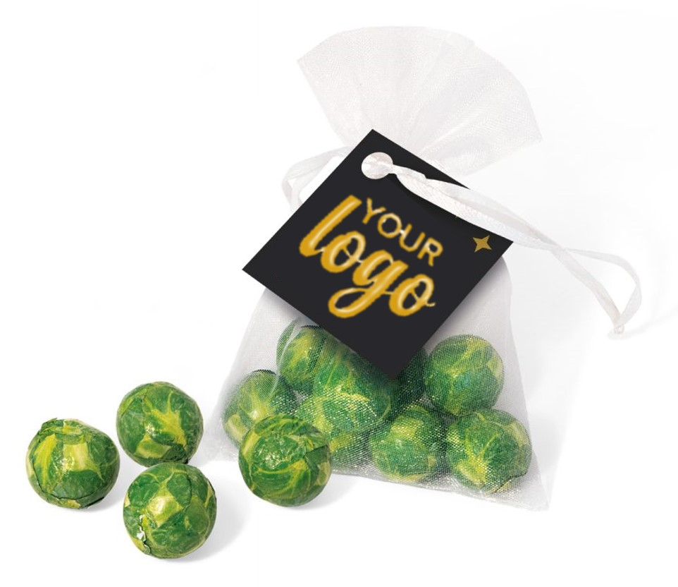 Chocolate Sprouts in Organza Bag