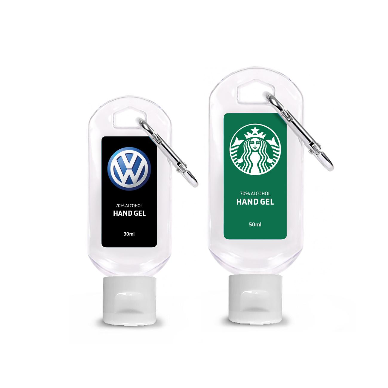 30ml & 50ml Carabiner Sanitiser_VW & Starbucks